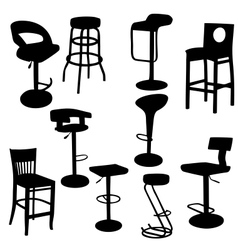 Set of bar Armchairs Silhouettes vector image