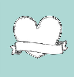 vintage ribbon over heart tattoo template vector image