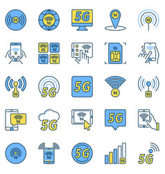 5g technology colored icons - 5th vector image