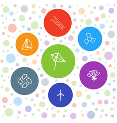 7 wind icons vector