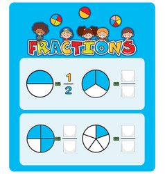 A math fractions worksheet vector