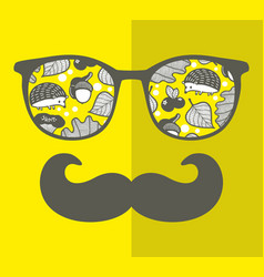 Abstract portrait of retro man in glasses vector