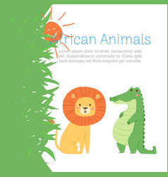African jungle animals lion and crocodile for cute vector