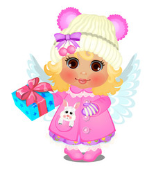 Animated cute little girl in winter clothes vector