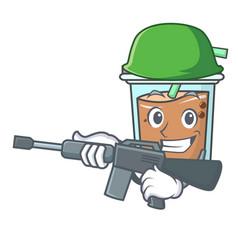 Army bubble tea character cartoon vector