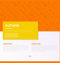 autumn concept with thin line icons maple vector image