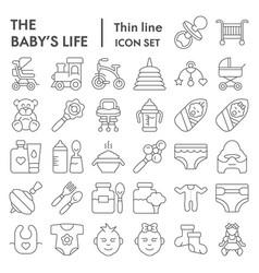 baby s life thin line icon set newborn symbols vector image