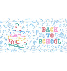 Back to school color books and apple doodle card vector