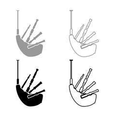 Bagpipes icon outline set grey black color vector