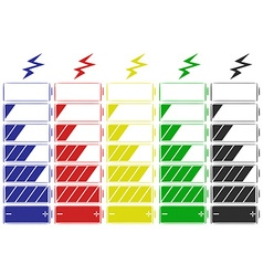 Battery icon in five colors vector