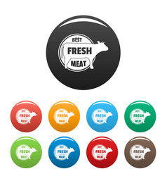 best fresh meat icons set color vector image
