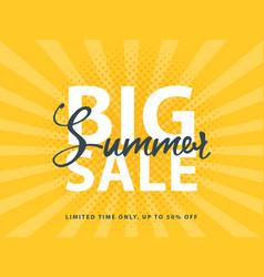 Big summer sale sign with retro pop art halftone vector
