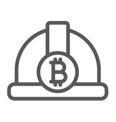 bitcoin miner hat line icon finance and money vector image