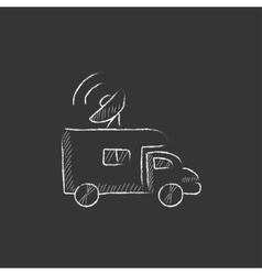 Broadcasting van Drawn in chalk icon vector image