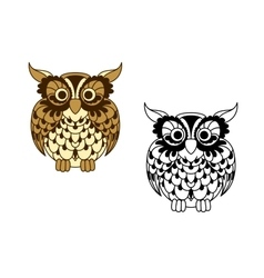 Brown cartoon and outline colorless owl bird vector