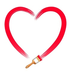 Brush Drawing Red Heart vector image