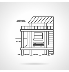 Bungalow black flat line icon vector image