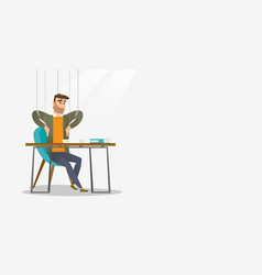 Business man marionette on ropes working vector