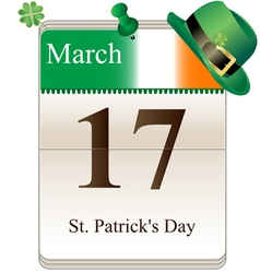 Calendar of st Patricks day with hat vector