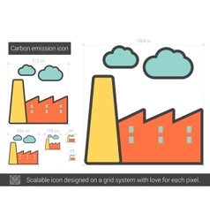 Carbon emission line icon vector
