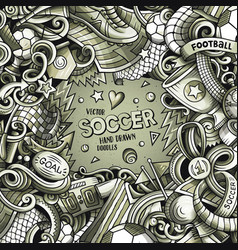 Cartoon doodles soccer frame graphics vector
