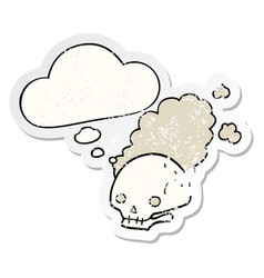 Cartoon dusty old skull and thought bubble as a vector