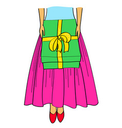 Cartoon girl with gifts bottom vector