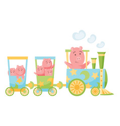 cartoon set with different animals on trains pigs vector image