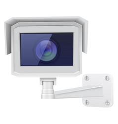 Cctv security camera front view white vector