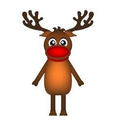 Cheerful cartoon reindeer on a white background vector