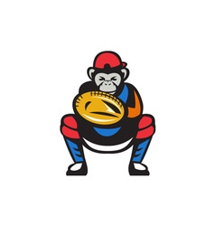 Chimpanzee Baseball Catcher Retro vector