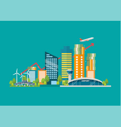 Cityscape in flat style with graph up and money vector