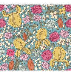 Color floral sketch seamless vector image vector image