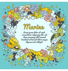 Colorful border of marine elements vector image