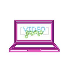 Computer gadget neon video game vector