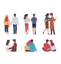 couple back view men and women pairs vector image