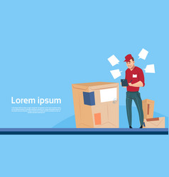 Courier man use tablet box delivery package post vector