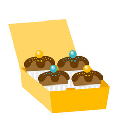 Cupcakes in a delivery box vector