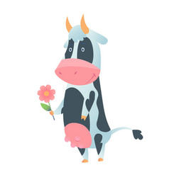cute cow in flat style isolated on white vector image