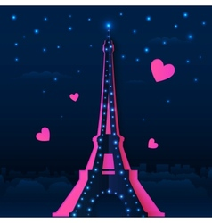 Cutout paper night Eiffel tower vector