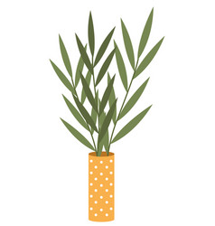 decorative indoor plant in high narrow yellow vase vector image