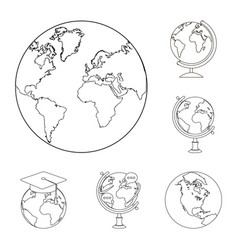 Design of globe and world sign collection vector