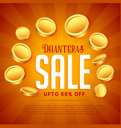 Dhanteras sale background with golden coins vector