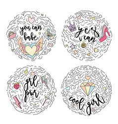 Doodle motivation set text for girls in round form vector