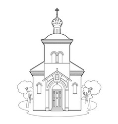 Drawing orthodox church vector