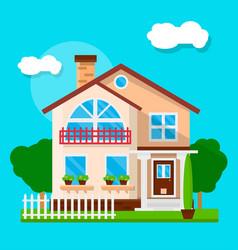 Exterior suburban house vector
