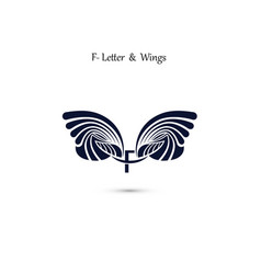 f letter sign and angel wings monogram wing logo vector image