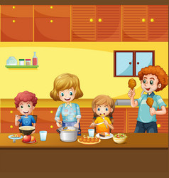 Family having meal in kitchen vector
