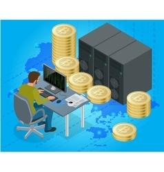 Flat 3d isometric man on computer online mining vector