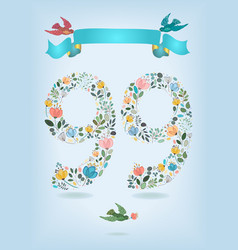 floral number ninety nine with ribbon and birds vector image
